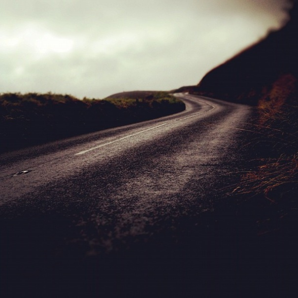 Countisbury Hill - its dark and raining.