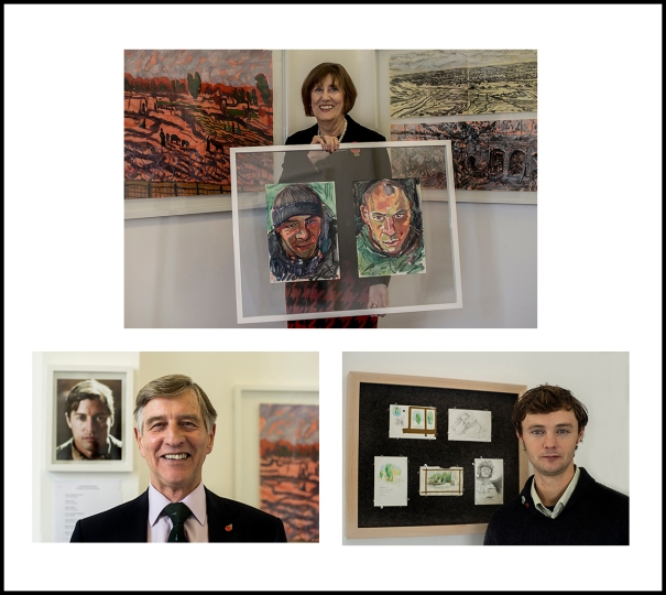 Pictured; Anita St John Gray who had the original idea for Combat Art, former Commanding Officer at 40 Commando, Col Alan Hooper, who along with Royal Marine Col M.J.A Jackson advised on the project, and artist Jon England who worked with his former lecturers at Somerset College, Stuart Rosamond and Tim Martin to curate and develop the project.